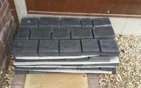 Marshalls block paving, splitstone, colour: basalt