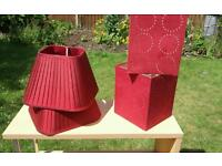 2 pairs red lampshades