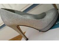 Silver Glitter Heels Size 3