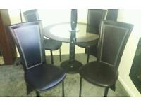 Glass table and 4 highback chairs