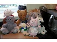 Bundle soft toys teddies including Build a Bear & Peppa Pig