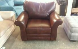 New real leather arm chair in brown good savings only £135