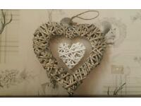 Rustic shabby chic wicker hearts