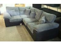 Armstrong black & grey cord corner sofa brand new rrp £895