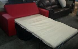 Ex display red sofa bed metal action only £100