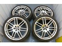 "Audi Sline S4 RS4 style 19"" alloy wheels + excellent tyres 5x100 vw Toyota seat skoda"