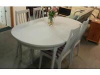 Dove grey table & 4 chairs