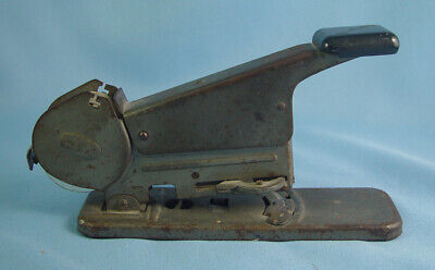 Vintage Bates Model B Wire Feed Stapler - Tested Working Installed Roll Of Wire