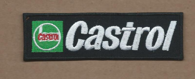 NEW 1 1/4 X 3 7/8 INCH CASTROL MOTOR OIL IRON ON PATCH FREE SHIPPING