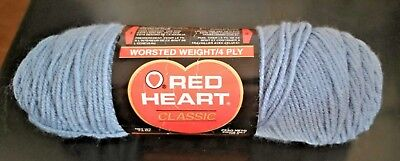 Blue Classic Knitting Yarn - RED HEART CLASSIC Yarn Skein Acrylic Crochet Knitting Yarn Country Blue