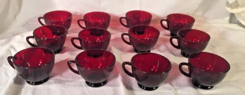 12 PUNCH CUPS ANCHOR HOCKING ROYAL RUBY RED PUNCH CUPS VINTAGE
