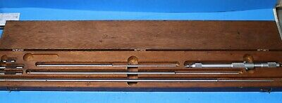 Starrett No. 124-c Solid Rod Inside Micrometer Set With Wood Case