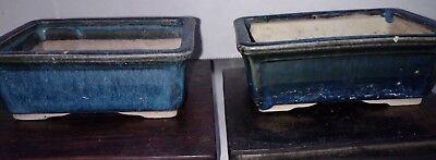 Pair of Japanese Bonsai Pots Pottery VINTAGE Blue Glazed rectangle 3.5x2.75x1.5