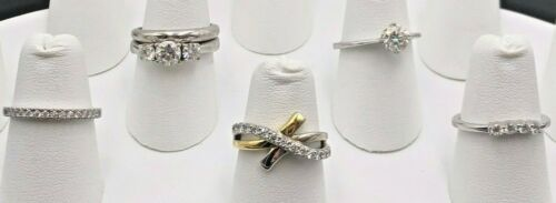 STERLING SILVER 925 CLEAR CUBIC ZIRCONIA CZ WEDDING BANDS ENAGAGEMENT RINGS LOT
