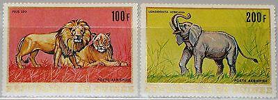 GUINEA 1968 502 03 C105 06 ANIMALS TIERE FAUNA LIONS L WEN ELEPHANT ELEFANT MNH