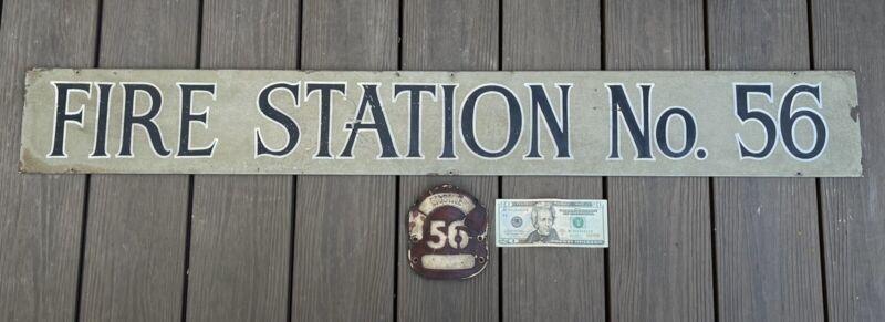Antique Vintage Los Angeles Fire Station No. 56 Sign and Helmet Leather Badge