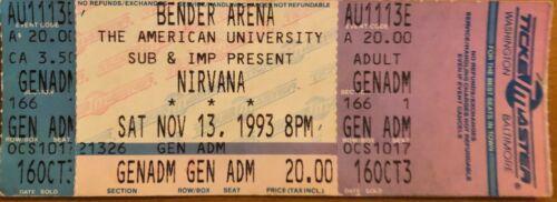 Rare Nirvana Concert Tickets Lot of 10 1993 Bender Arena Kurt Cobain DC Dave
