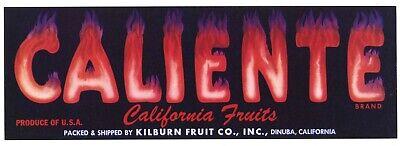 CALIENTE Vintage Fresno Fruit Crate Label, Fonts on Fire, **AN ORIGINAL LABEL**