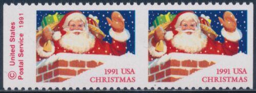 "#2579a Horizontal Pair ""santa Claus"" Imperf Vertical Error Og Nh Cv $225 Bt6567"