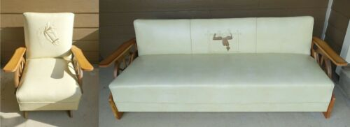 Vintage Mid Century Cowboy Western Wagon Wheel Dude Ranch Sleeper Sofa Chair Set