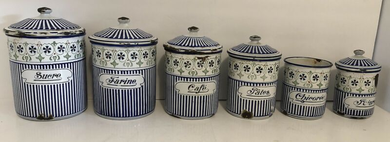 6 Blue and White Striped w Floral Design Vintage French Enamel Nesting Canisters