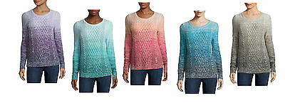 Jcp St Johns Bay Woman Ombre Lightweight Soft Cable Knit Sweater 1X 2X 3X New
