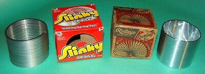 2 Old Boxed Slinky Metal Wire Kinetic Walking Spring Toy - Ridley / Alex Brands