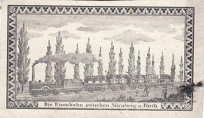 Die Eisenbahn zwischen Nürnberg und Fürth Orig Kupferstich um 1850