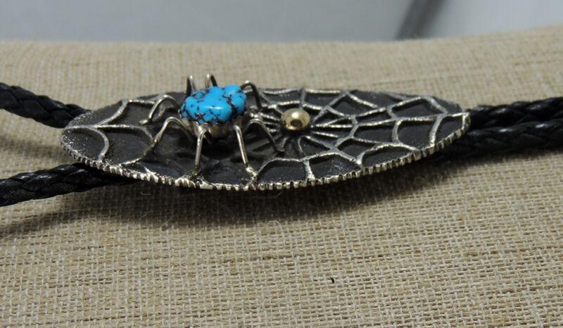 Best! John Hornbek Signed Bolo Masterpiece Tufa Cast Turquoise Spider Golden Egg