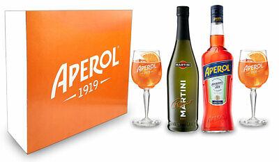 Aperol Spritz Geschenkset Aperol 1L (11%) Prosecco 0,7L (10,5%) 2 Acryl Gläser