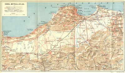 ALGERIA. Sahel, Mitidja, Atlas 1909 old antique vintage map plan chart