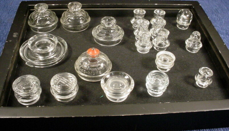 VINTAGE CLEAR GLASS PERCOLATOR KNOBS LOT OF 19 ASSORTED SIZES AND SHAPES