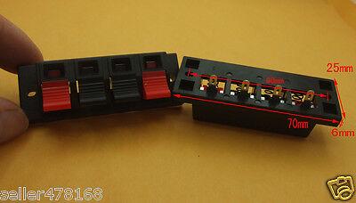 Panel Single Row 4 Position Cable Clip Socket Push Type Speaker Terminals 4pcs