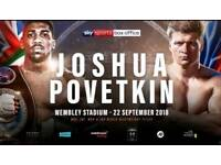 Joshua vs povetkin 2x tickets 22nd September