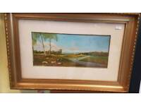 Antique oil painting signed J Rowell