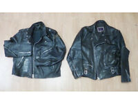 2 vintage real leather motorcycle biker jackets