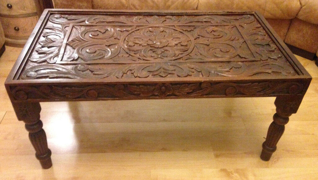 Carved Wooden Coffee Table Gl Top In Falkirk Gumtree