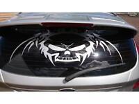 """Tribal Scull windscreen vinyl sticker 32""""x 12"""""""