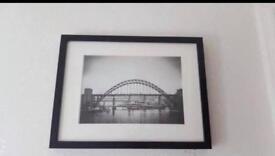Framed photograph of Newcastle bridges