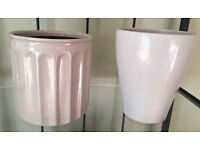 2 Small Grey Plant Pots in Different Styles