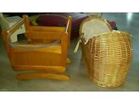 Mothercare Noah Pod Moses Basket crib and Gliding Wooden stand