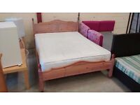 Pine double bed frame with mattress