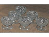 6 Vintage Grapefruit Glass Bowls