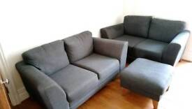Fabric sofas and footstool for sale