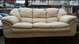 Cream Leather Sofas Good Condition One 3 Seater Two 1 Seaters Quick Sale £100