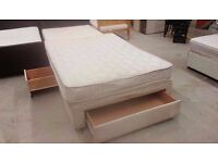 Double divan bed with three drawers and mattress