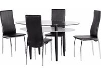 BERKLEY DINING SET WITH 4 CHAIRS, GLASS TABLE, FAUX-LEATHER CHAIRS! 2 COLOURS! DELIVERY AVAILABLE!