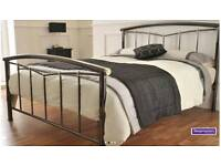 Metal bed frame king size plus optional mattress