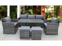 RATTAN WICKER GARDEN OUTDOOR CUBE TABLE AND CHAIRS FURNITURE PATIO DINING SET 7 SEATER, CURVED ARMS