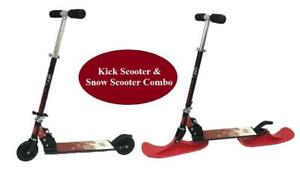 Kick Scooter & Snow Kick Scooter Combo for Kids (with 2 Wheels & 2 RED Skis) - Ship across Canada